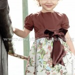 vestido infantil floral marrom