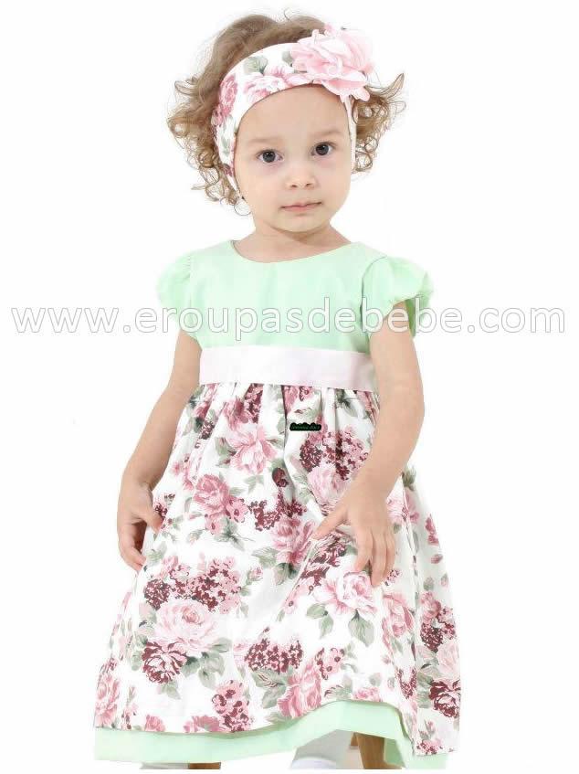 vestido infantil floral com verde