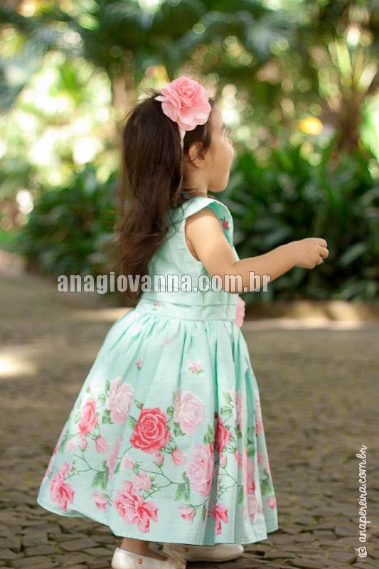 vestido infantil estampado verde