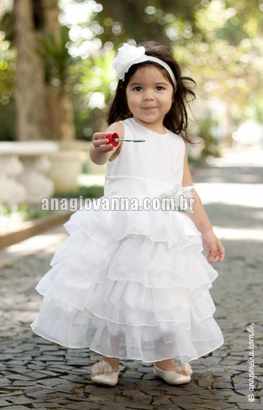 vestido infantil branco para festa de bebe