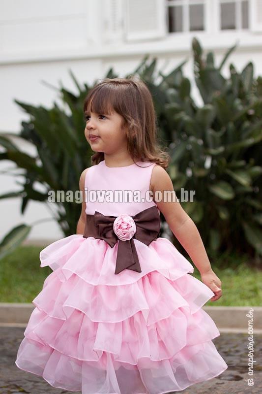 vestido infantil marrom e rosa princesa