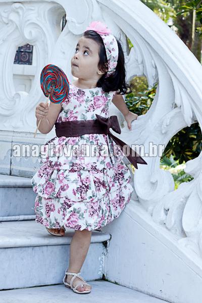 vestido infantil floral de algodão