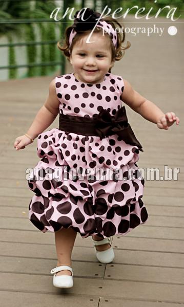 vestido de festa infantil marrom com rosa
