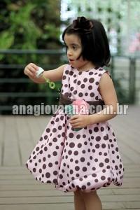 vestido infantil de festa marrom com rosa