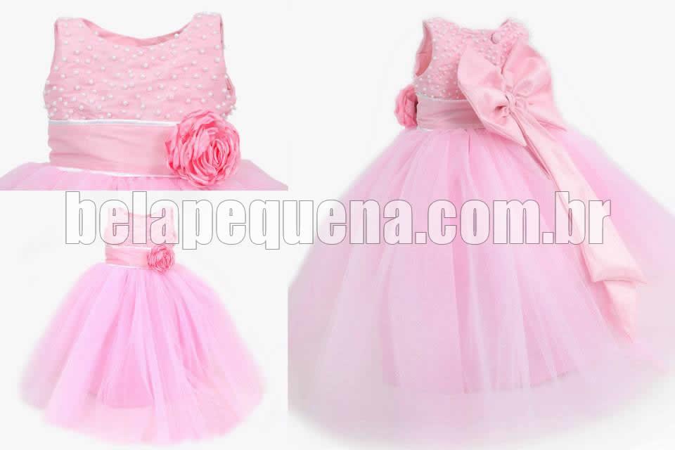 Vestido rosa infantil de luxo princesa