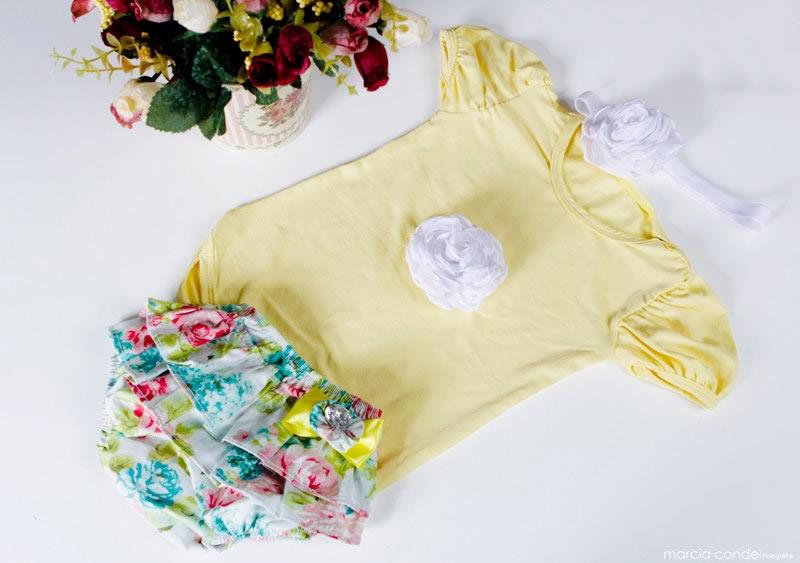 Body de bebe amarelo floral