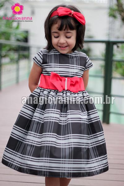 Vestido infantil xadrez cinza e preto