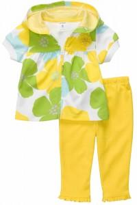 Conjunto Carters 2 pecas 12m Amarelo com Floral