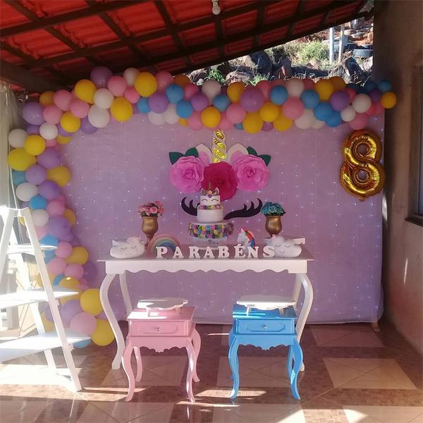 Festa unicórnio simples e barata
